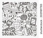 doodle communication background | Shutterstock .eps vector #203989783