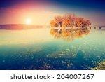 Stock photo fantastic sunny day on the lake ternopil ukraine europe beauty world retro style filter 204007267