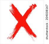 x   red handwritten letter on ... | Shutterstock .eps vector #204038167