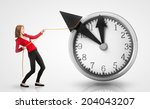 woman pulling clock hands... | Shutterstock . vector #204043207