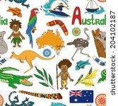 fun colorful sketch australia... | Shutterstock .eps vector #204102187