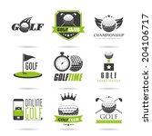 golf icon set   2   Shutterstock .eps vector #204106717