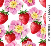 strawberry and peony hand drawn ... | Shutterstock .eps vector #204132223