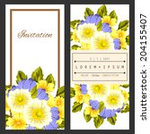 set of invitations with floral... | Shutterstock .eps vector #204155407