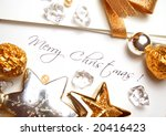 christmas card and paper with... | Shutterstock . vector #20416423