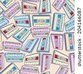 audio cassettes seamless pattern | Shutterstock .eps vector #204166087