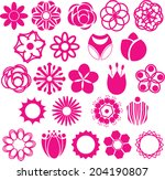 set of vectorized flowers  | Shutterstock .eps vector #204190807