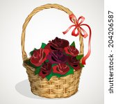 wicker basket roses | Shutterstock .eps vector #204206587