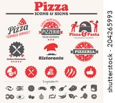 pizza icons  labels  symbols  ... | Shutterstock .eps vector #204265993