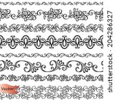 vector set of decorative floral ... | Shutterstock .eps vector #204286327