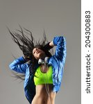beautiful young woman dancing ... | Shutterstock . vector #204300883