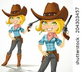cute blond cowgirl with...   Shutterstock .eps vector #204303457