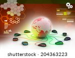 globe connecting with computer... | Shutterstock . vector #204363223