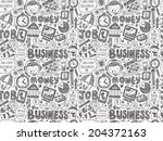 doodle business seamless | Shutterstock .eps vector #204372163