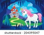 cute unicorn in fairy tale cave ... | Shutterstock .eps vector #204395047