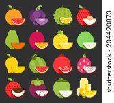 tropical fruit icon set  vector | Shutterstock .eps vector #204490873