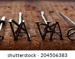 two branding irons for cattle... | Shutterstock . vector #204506383