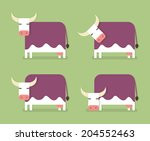 cow in four positions  cartoon...   Shutterstock .eps vector #204552463