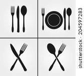 cutlery restaurant icons  | Shutterstock .eps vector #204597283