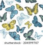 butterflies seamless pattern | Shutterstock .eps vector #204599707