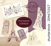 world landmark sketch... | Shutterstock .eps vector #204671317