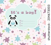 baby boy arrival card. baby... | Shutterstock .eps vector #204673003