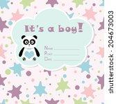 baby boy arrival card. baby...   Shutterstock .eps vector #204673003