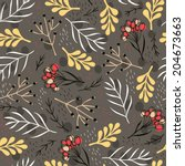 vector floral seamless pattern... | Shutterstock .eps vector #204673663