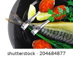 smoked fish with red caviar on... | Shutterstock . vector #204684877
