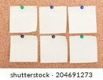 cork board with blank notes  | Shutterstock . vector #204691273
