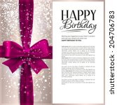 vector birthday card with pink... | Shutterstock .eps vector #204706783