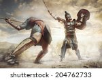 Ancient Greek Warrior Fighting...