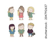 hand drawn traveling character... | Shutterstock .eps vector #204792637