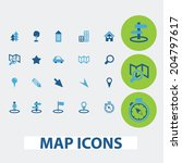 map  navigation  route vector... | Shutterstock .eps vector #204797617