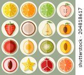 vector fruit icon set in flat... | Shutterstock .eps vector #204818617