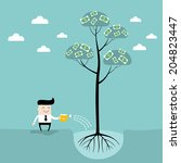 businessman watering money tree....