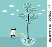 businessman watering money tree....