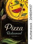 pizza restaurant  sketch menu ... | Shutterstock .eps vector #204834937