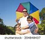 father holding a colorful...   Shutterstock . vector #204848437