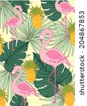 tropics- palm leaf and flamingo and pineapple vector/illustration
