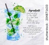 mojito cocktails drawn... | Shutterstock .eps vector #204871633