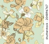 vintage vector seamless floral... | Shutterstock .eps vector #204896767