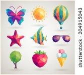 summer set   geometric icons. | Shutterstock .eps vector #204915043
