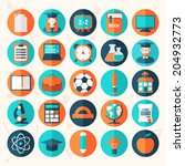 flat education icons set... | Shutterstock .eps vector #204932773