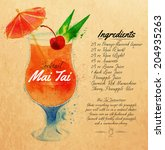 Mai Tai cocktails drawn watercolor blots and stains with a spray, including recipes and ingredients on the background of kraft