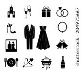 set of black silhouette vector... | Shutterstock .eps vector #204975667