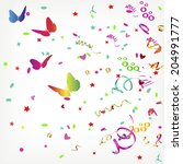 background with butterflies and ... | Shutterstock .eps vector #204991777