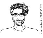 hipster. vector of a man face...   Shutterstock .eps vector #204991873
