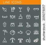 line icons set. summer holidays ... | Shutterstock .eps vector #205075057