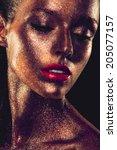 beautyful girl with gold... | Shutterstock . vector #205077157